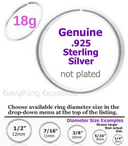 18g .925 Sterling Silver Seamless Hoop Ring Nose Ear Septum Tragus Cartilage Lip
