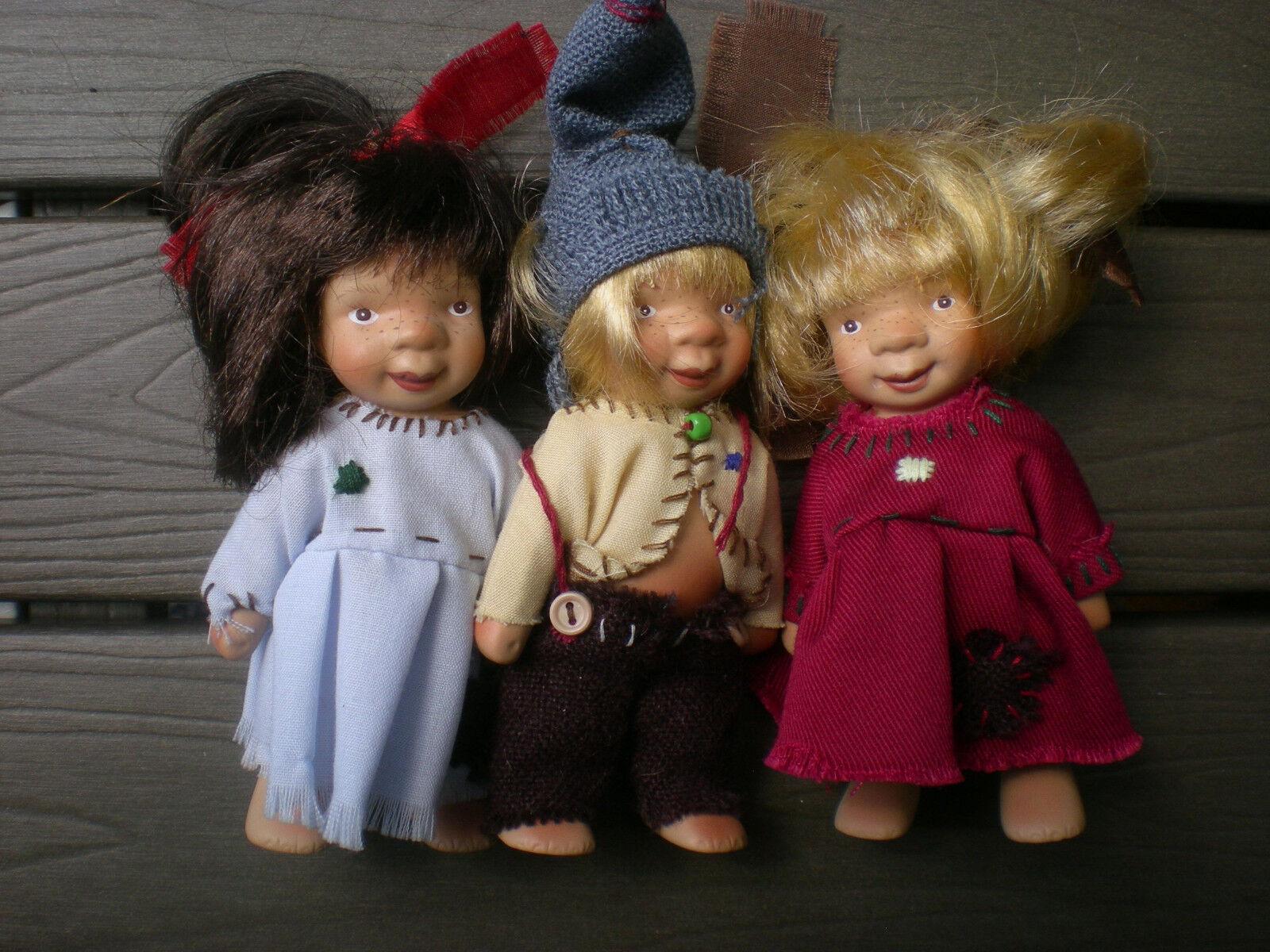 Götz Puppe 3 Künstlerpuppen von Susi Eimer Eimer Eimer 1999 Troll 10 cm Porzellan Doll 643fe2