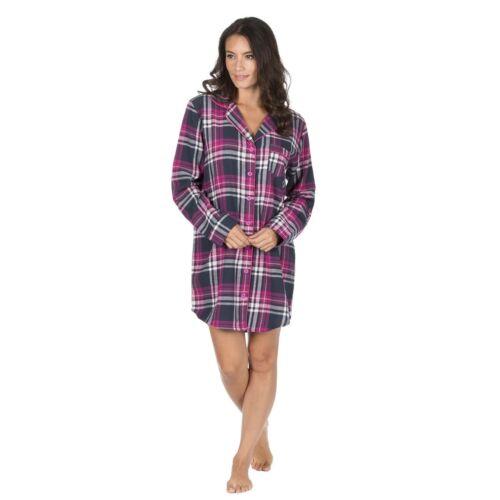 Ladies Womens Flannel Check Nightshirt Nightdress Nightie Pyjamas 100/% Cotton