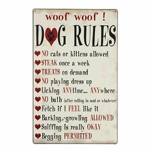 Dog-Rules-Metal-Tin-Sign-Vintage-Rustic-Home-Decor-Wall-Art-Ready-To-Hang