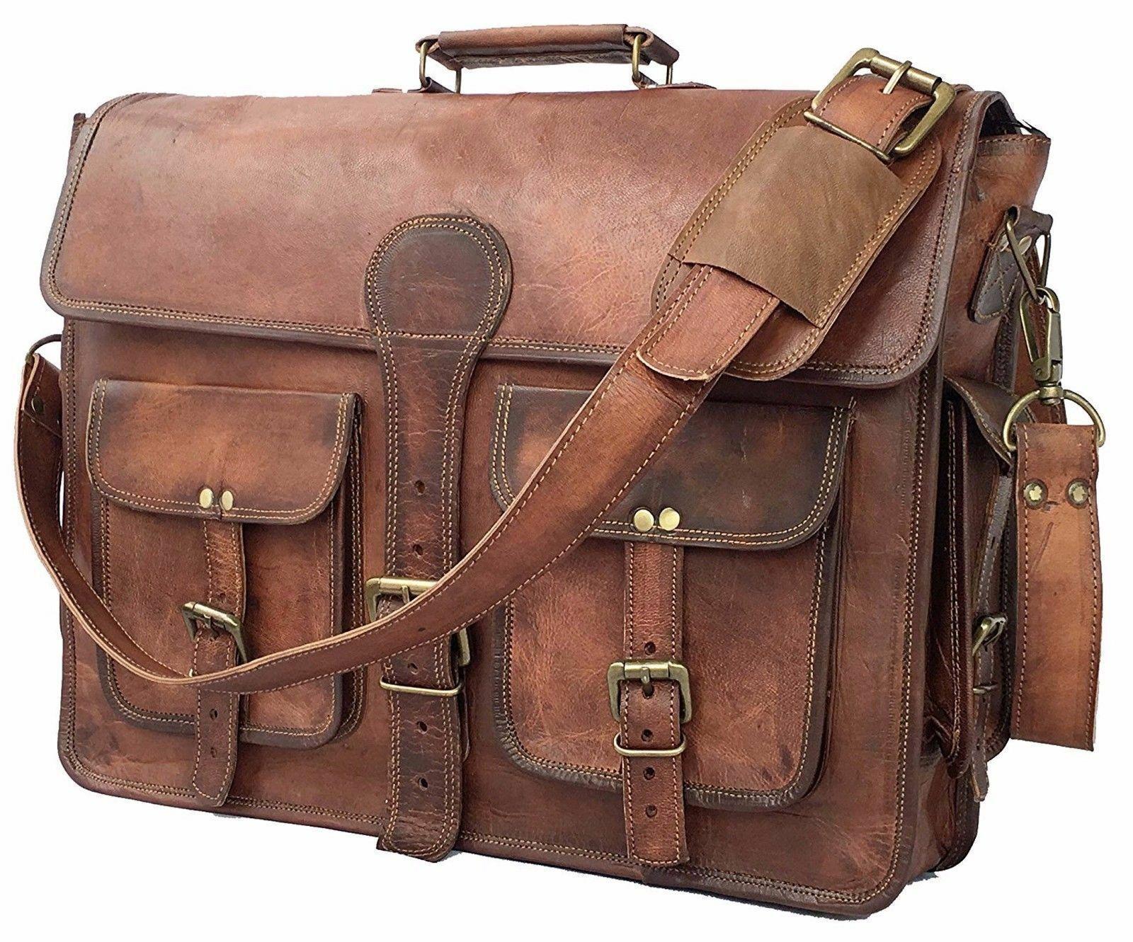 Bag Goat Leather Men Vintage Laptop Messenger S Shoulder Brown Briefcase Real