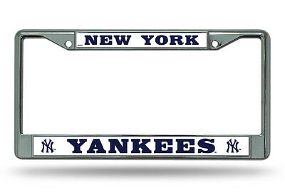 MLB New York Yankees Metal Chrome License Plate Frame Universal NEW