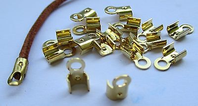 10 Abschlussklemmen für Bänder 2 mm, goldfarben. Endteile, Endkappen, Bandklemme