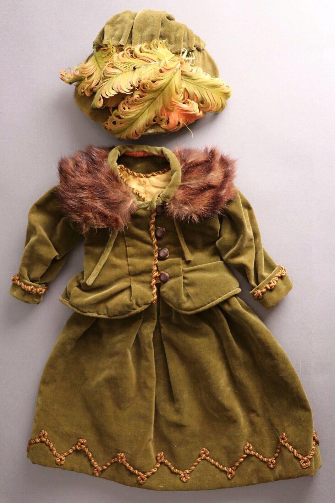 Impresionante Impresionante Impresionante Antiguo Vintage 4-pieza de ropa de terciopelo F Muñeca Biscuit francés, alemán  Tu satisfacción es nuestro objetivo