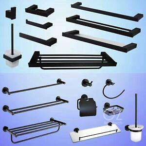 Towel-Rail-Rack-Toilet-Paper-Roll-Holder-Tissue-Robe-Hook-Matt-Black-Accessory
