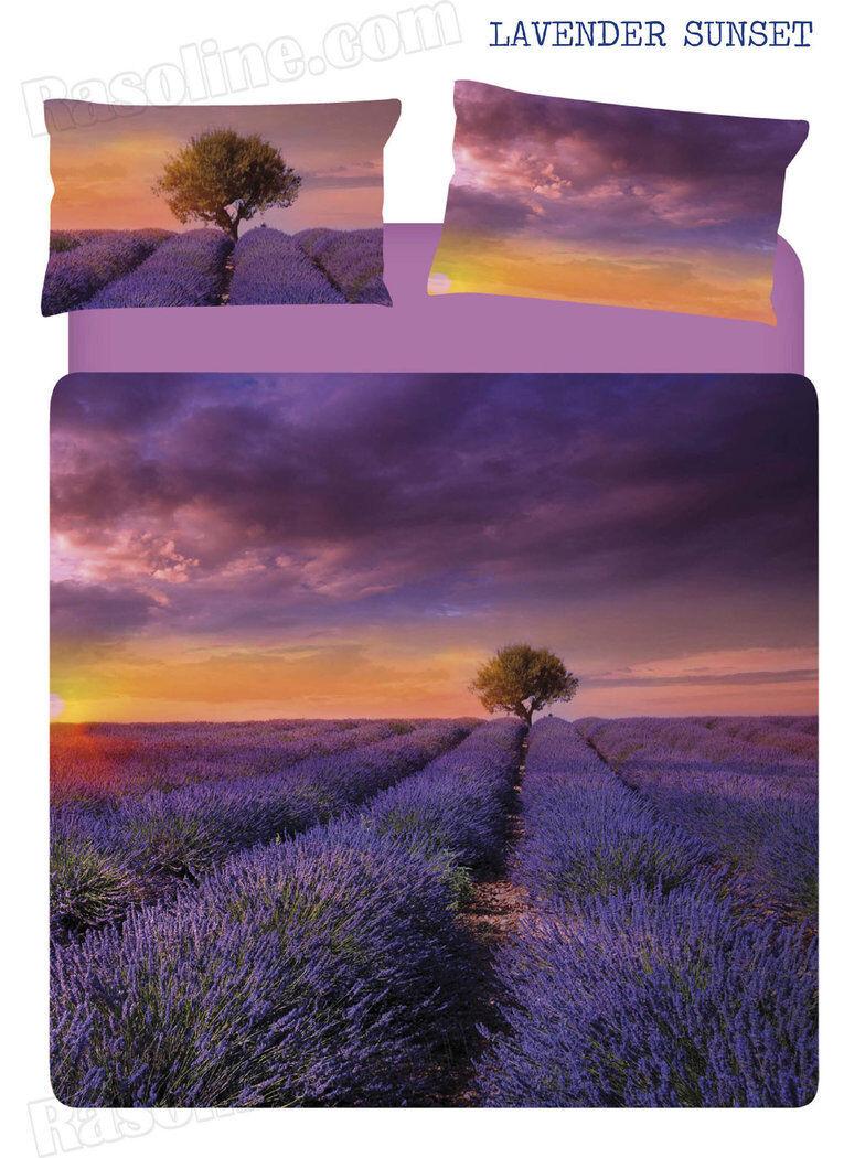 Set Lenzuola   Copriletto Matrimoniale Lavender Sunset Tramonto lila Caleffi