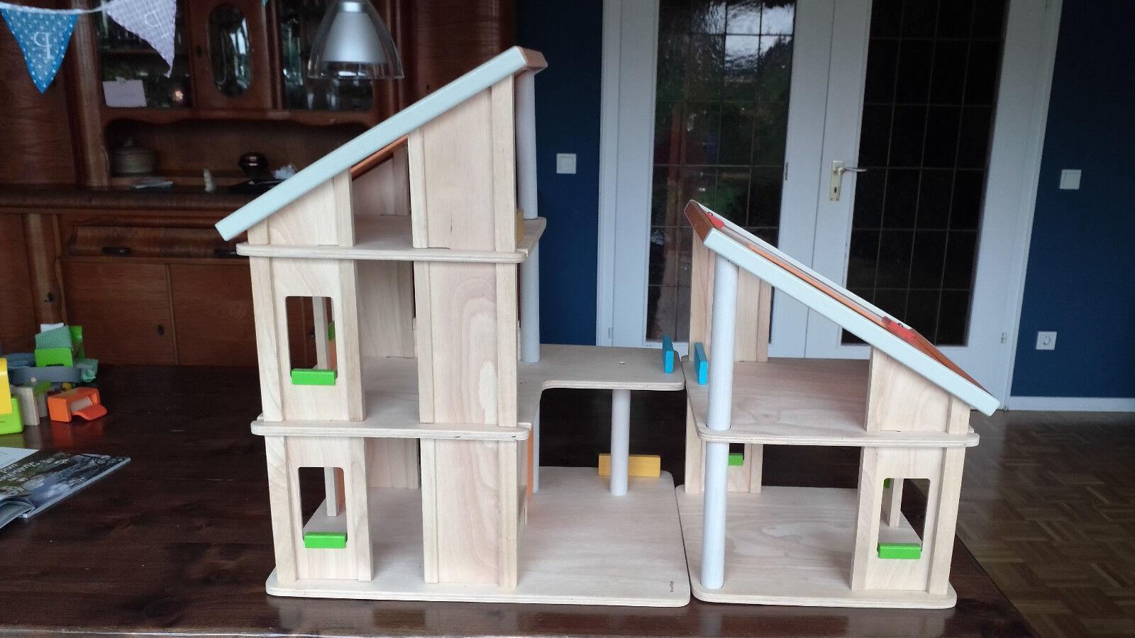 Plan Toys mit Puppenhaus Villa fast komplett eingerichtet mit Toys 4 Puppen bda013