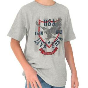USA-Live-Free-Rise-Above-Eagle-American-Gift-Youth-T-Shirt-Tees-Tshirt-For-Kids