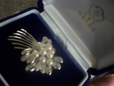Attractive Japanese Sterling Silver & Pearl Brooch in box c.1970/80s