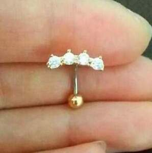 Details About 16g Cz Crown Belly Button Ring Floating Naval Ring Beautiful Line Belly Rings