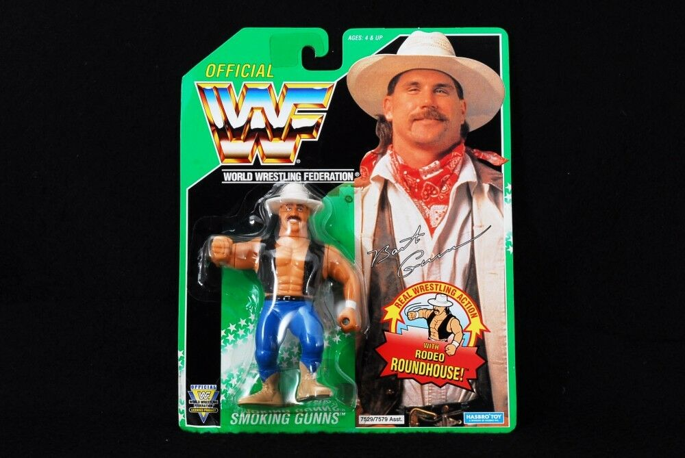 WWF Hasbro Bart Gunn Figure rare on card The Smoking Gunns Japan (mn12)
