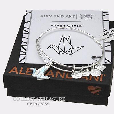 Authentic Alex and Ani Paper Crane Shiny Silver Expandable Charm Bangle CBD