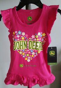 Search For Flights Youth Girls Size 2t John Deere Ruffle Tank T-shirt Jst408pt pink