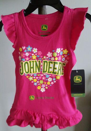 Pink jst408PT Youth Girls  size 3T John Deere Ruffle tank T-Shirt