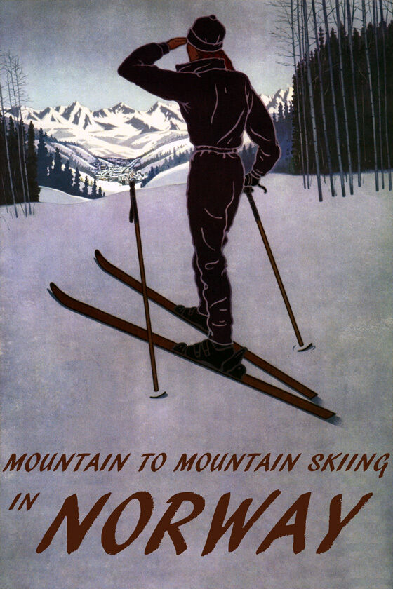 DOWNHILL MOUNTAIN SKIING SKI IN NORWAY EUROPE WINTER SPORT VINTAGE POSTER REPRO