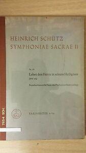 Adroit Heinrich Schultz: Sacred Symphony Ii: Swv350: Musique (a5)-afficher Le Titre D'origine