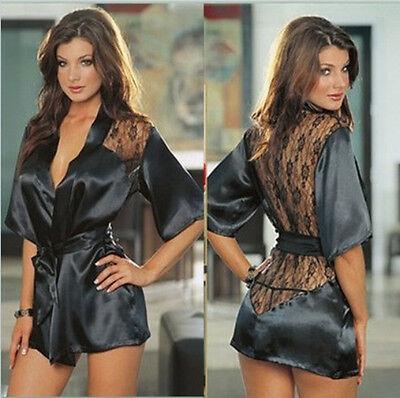 Women Sexy Black Lingerie Lace Stain Intimate Sleepwear Babydoll Nightwear Dress