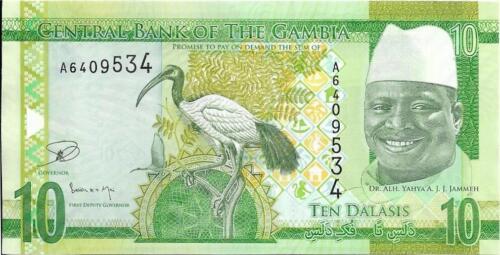UNC from 2015 Sacred Ibis GAMBIA 10 Dalasis P -32 CROCODILE Head as Watermark