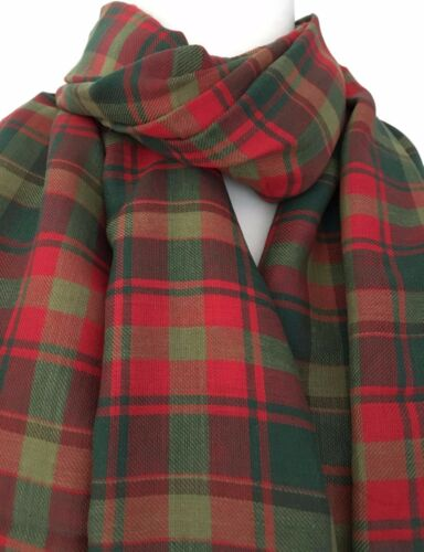 Tartan Scarf Maple Leaf Tartan Green Red Plaid Wrap Cotton Shawl Ladies Mens New