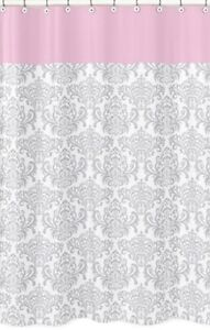ELIZABETH-GREY-PINK-DAMASK-BATH-GIRLS-TEEN-SHOWER-CURTAIN-SWEET-JOJO-DESIGNS
