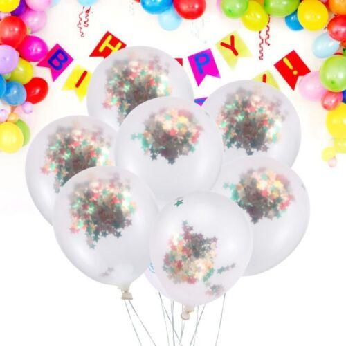 12x Transparent Konfetti Glitzer Ballons Latex Luftballon Geburtstag Party Deko