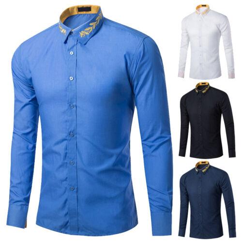 Hommes Chemises Habillées à Manches Longues écobue d/'affaires Hauts de cérémonie