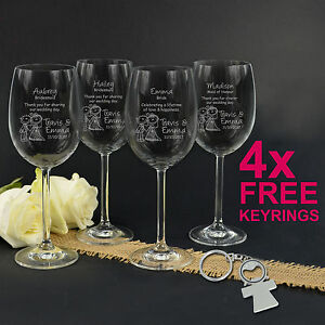 ... Premium Stemless Wine Glass Gift Engraved Wedding Favour Bridesmaid