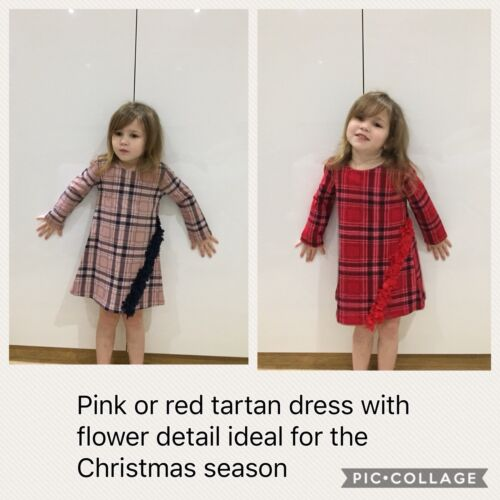 Girls Pink Or Red Tartan Dress Ideal For The Christmas Season