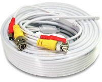 50 Feet PREMADE SIAMESE White Power & Video Cable for CCTV Security