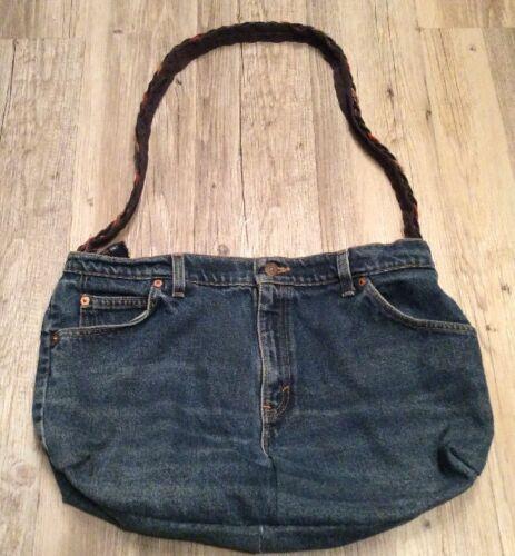 Denim Tote Blue Medium Wash Levi's Purse Jeans Custom Handbag Made AR534Lj