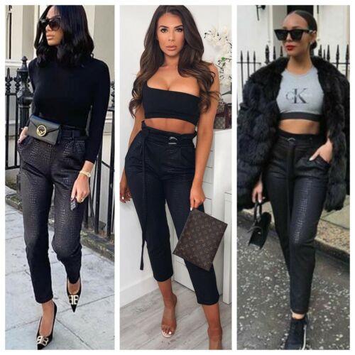 Shiny Black PU con Cintura Stampa Coccodrillo modello skinny vita alta a Sigaretta Pantaloni
