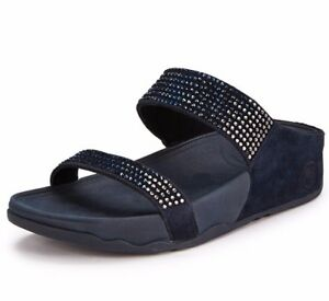 37aa5469f6c39 NEW FITFLOP WOMEN Sz10US FLARE SLIDE STONES SHIMMER SANDALS LEATHER ...