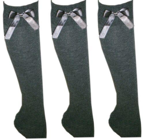 SCUOLA Per Bambine Ragazze Calze al ginocchio con fiocchi Lungo Calzini Di Cotone Rich 3 PAIA Kids