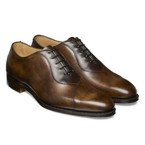 Mens Handmade scarpe Tan Shaded Whole Cut Toe Toe Toe Cap Oxford Classic Formal Dress New c22412