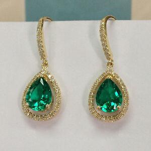 3-00-Ct-Pear-Cut-Green-Emerald-Dangle-Earrings-in-14K-Yellow-Gold-Over
