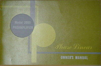 PHASE LINEAR PL 2000 PREAMPLIFIER OWNER/'S MANUAL 18 Pages