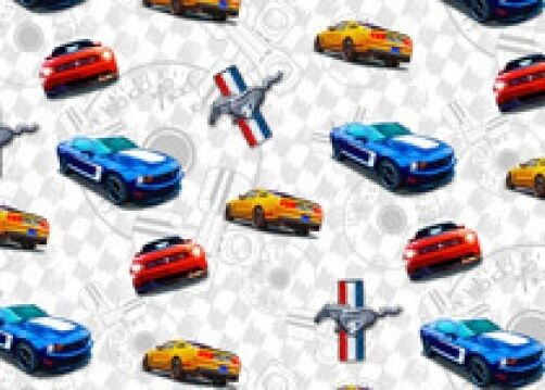 FORD MOTOR CARS COTTON FABRIC-FORD MUSTANG COTTON FABRIC-FORD COTTON-1100-01