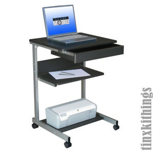 new product 3dd08 f166c Details about Rolling Portable Computer Desk Mobile Work Station Laptop  Printer Stand Table