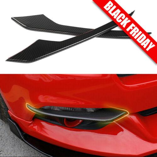 Carbon Fiber Front Fog Light Lamp Eyebrow Cover Trim For Ford Mustang 2015-2017