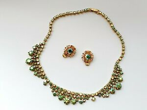 Vintage-Diamante-Diamond-Paste-Green-Aurora-Borealis-Effect-Necklace-amp-Earrings