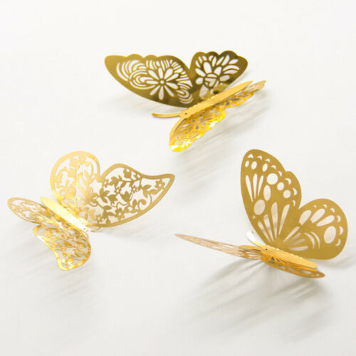 Hollow 3D Butterfly Wall Stickers 36pcs//Set Gold Silver Creative DIY Home Decor