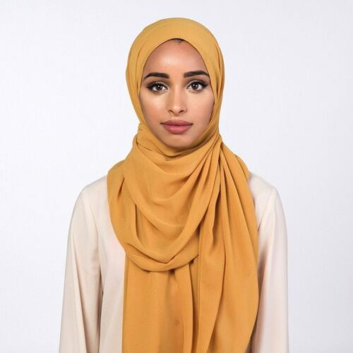 plain Chiffon Hijab Scarf Elegant Quality Sarong Shawl Wrap Maxi pashmina