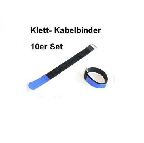 schwarz blau Klettkabelbinder 15 x 1,6cm mit Metallöse 10er Set Klettband