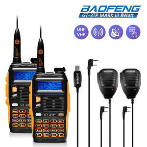 2-Baofeng-GT-3TP-Triple-Power-8W-Two-way-Radio-Transceiver-Speakers-Cable