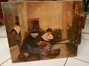 Peinture-ancienne-scene-de-vie-huile-sur-toile-fin-XIX-eme-s