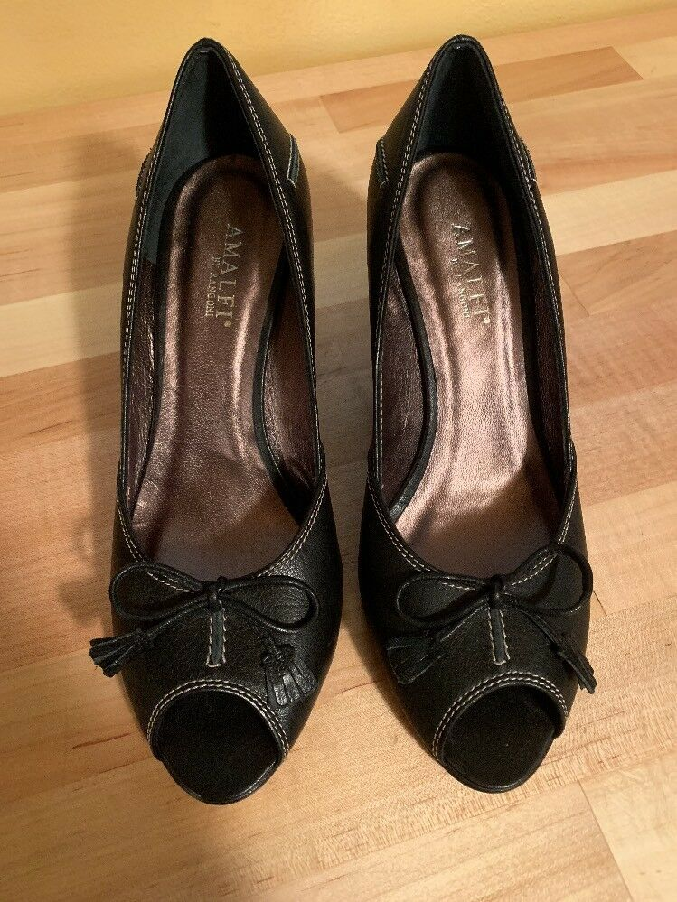 NEW Black Amalfi Rangoni SHOES Heels Open Peep Toe LEATHER 6.5