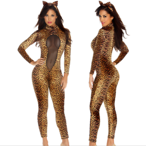 419dc546d5 Image is loading Animal-Leopard-Zebra-Tiger-Print-Clothing-Jumpsuit-Cosplay-