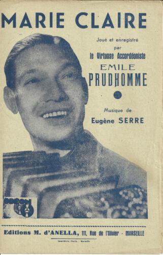 MARIE CLAIRE 1945 Partition Accordéon Emile Prud/'Homme