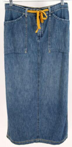 Lucky Brand Denim Drawstring Jean Maxi Skirt Size… - image 1