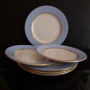 N2799-6-Platos-Ceramica-Porcelana-Cafe-Gilbert-Art-Nouveau-Deco-Pn-Francia